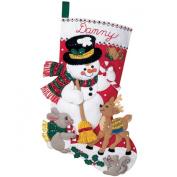 Bucilla Snowman & Friends Stocking Felt Applique Kit 46cm Long 84951