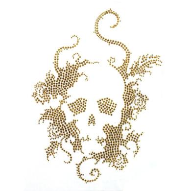 Rhinestone Iron on Transfer Hot Fix Motif Crystal Fashion Design Skull Gold 3 Sheets 7.4*26cm