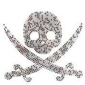 Rhinestone Transfer Hot Fix Motif Fashion Design Jewellery Cushion Skull M Deco 3 Sheets 6.8* 15cm