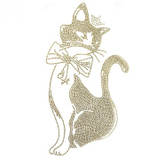 Rhinestone Transfer Hot Fix T-shirt Clothing Crafts Cushion Gold Cat Ribbon Deco Design 3 Sheets 6.8* 30cm