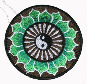 Yin Yang / Lotus Embroidered Patch Naga Land Tibet Sacred Stones Amulet