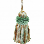 39cm Pillow Tassel with a 27cm Cord, Mint and Beige