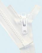 640cm Vislon Zipper ~ YKK #10 Reversible Moulded with 2 Heads ~ 501 White