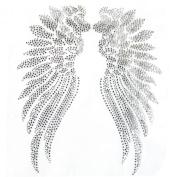 Rhinestone Iron on Transfer Hot Fix Motif Angel Wings 2 Deco Fashion Design 3 Sheets 9.8*30cm