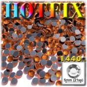 The Crafts Outlet DMC HOTFIX Superior Quality Glass 1440-Piece Round Rhinestones Embellishment, 5mm, Orange