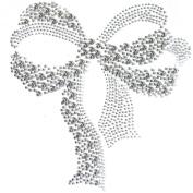 Rhinestone Iron on Transfer Hot Fix Motif Crystal Fashion Design Love Ribbon 3 Sheets 7.6* 16cm