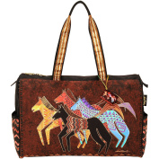 "Travel Bag Zipper Top 50cm - 1.3cm x 21cm X16""-Native Horses"