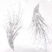 Rhinestone Iron on Transfer Hot Fix Motif Crystal Fashion Design Line Decoration 3 Sheets 10.4*26cm