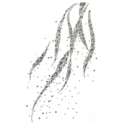 Rhinestone Iron on Transfer Hot Fix Motif Grey Wave Deco Fashion Design 3 Sheets 8.6*35cm