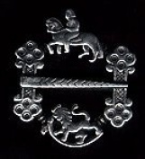 Pewter Lion and Horse Brooch