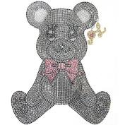 Rhinestone Iron on Transfer Hot Fix Motif Fashion Cutie Bear Design 3 Sheets 7.6*24cm