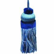 50cm Key Tassel with a 10cm Cord, Blue and White