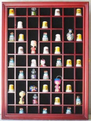 59 Thimble / Miniature Display Case Holder Cabinet Shadow Box, with REAL Glass Door, Felt Interior Background-CHERRY Finish