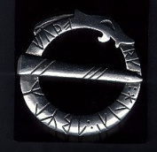 Viking Circular Runic Dragon Brooch - Pewter