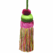50cm Key Tassel with a 10cm Cord, Green/Rust and Gold