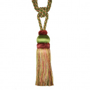 Single Tassel Tieback with 20cm Tassel and 80cm Spread, Green/Rust and Gold