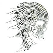 Rhinestone Transfer Hot Fix T-shirt Clothing Crafts Cushion Skull Story F Design 3 Sheets 9.4* 28cm