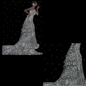 Rhinestone Iron on Transfer Hot Fix Motif Crystal Wedding Bride Fashion Design 3 Sheets 8.6*30cm