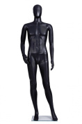 Male Full Body Durable Plastic Abstract Egg Head Mannequin With Movable Head Black