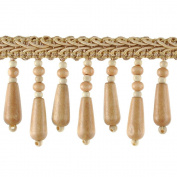 Beaded Trim BB-937-18 5.1cm Wood Bead Trim with 0.6cm Braid, 10-Yard Roll, Tawny