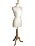 Womens Dress Form - Light Oak Finish Base and Top Cap - Pinnable Cream Coloured Padded Jersey Covers - Adjustable Height