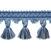 39cm Tassel Fringe on 25-Yard Roll, Blue and White