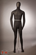 Male Mannequin, Flexible Posable Bendable Full-size Soft -Black, Great for Costumes