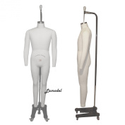 Full Body Male Professional Dress Form Mannequin Size 36 with Collapsible Shoulders and Two Removable Arms