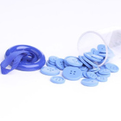 12 Mini Storage Containers Filled with All Light Blue Plastic Buttons in Assorted Sizes