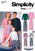 Simplicity Sewing Pattern 5271 Miss/Men/Child Sleepwear, A