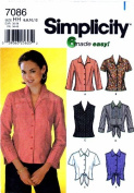 Simplicity 7086 Misses Shirts Sewing Pattern Size 6 - 8 - 10 - 12 Bust 30 1/2 - 31 1/2 - 32 1/2 - 34