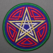 7.6cm Celtic Gold & Silver Pentagram Embroidered Cloth Patch, PA1