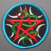 7.6cm Wadjet Goddess Serpent & Pentagram Embroidered Cloth Patch, PA3