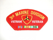3RD MARINE DIVISION VIETNAM VETERAN RED PATCH(Can be sewn or ironed on jacket or hat) Patch 7.6cm x 13cm