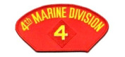 4TH MARINE DIVISION EMBLEM RED PATCH(Can be sewn or ironed on jacket or hat) Patch 7.6cm x 13cm