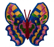Butterfly Vibrant Blue Pink Yellow Red Excellent Detail Iron on Patch D41