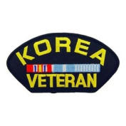 KOREA VETERAN W/ RIBBON BLACK PATCH(Can be sewn or ironed on jacket or hat) Patch 7.6cm x 13cm