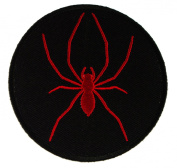 Red Spider on Black Background Biker Embroidered Iron on Patch D41