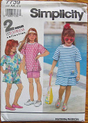 Simplicity 7739 Sewing Pattern ~ Child's, Girl's Top in 2 Lengths, Skirts and Shorts, Sizes 2-3-4