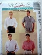 UNCUT & OOP McCALL'S 9579 PALMER / PLETSCH MEN'S / MISSES' CLASSIC FIT 3 HOUR SHIRTS SEWING PATTERN SIZE EX-LARGE 42, 44