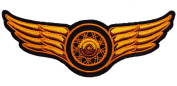 Winged Wheel Gold colour 13cm Biker Iron or Sew on Embroidered Patch D45