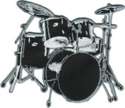 Drum Set - Black And Grey - Embroidered Iron On Or Sew On Patch