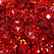 5mm CUP SEQUINS RED HOLOGRAM Loose sequins for embroidery, applique, arts, crafts, and embellishment.