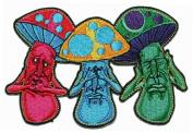 Mushroom No Evil See Hear Speak Iron On Hippie Patch