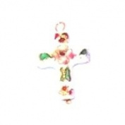 White Cloisonne Rosary Cross or pendant