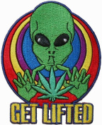 Get Lifted Pot Leaf Alien Embroidered Iron On Patch