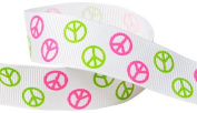 Hip Girl Boutique 5yd 2.2cm Peace Sign Ribbon-Grosgrain-White/Hot Pink+Apple Green