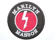 MARILYN MANSON Logo Iron On Sew On Goth Metal Embroidered Patch Approx