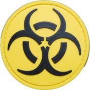 Black and Yellow Biohazard Morale Patch with hook and loop