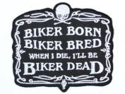 "BIKER BORN Hog Rockers Cafe Racer Chopper Outlaw Iron On Sew On Patch3.5""/9cm x 3""/7.8cm BY MNC SHOP"